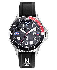N83 Men's Cocoa Beach Solar Black, Red Silicone Strap Watch 43mm