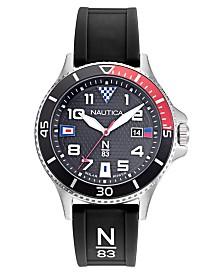 Nautica N83 Men's Cocoa Beach Solar Black, Red Silicone Strap Watch