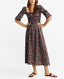 Floral Linen-Blend Dress