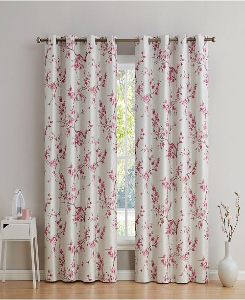 "HLC.me Obscura By Albury Floral 100% Blackout Grommet Curtain Panels - 52"" W X 96"" L - Set of 2"