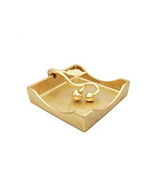 Gold Square Napkin Holder with Leaf Shaped Tongue