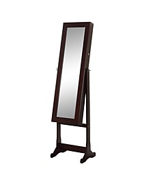 Floor Standing Mirror and Jewelry Armoire with LED Light