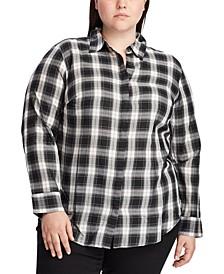 Plus Size Plaid-Print Lightweight Cotton Button-Down Shirt