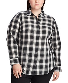 Lauren Ralph Lauren Plus Size Plaid-Print Lightweight Cotton Button-Down Shirt