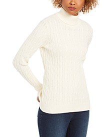Petite Cable-Knit Turtleneck Sweater, Created for Macy's