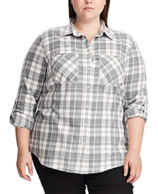 Plus Size Cotton-Twill Shirt