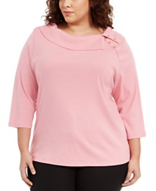 Karen Scott Plus Size Cotton Split-Collar Sweater, Created For Macy's