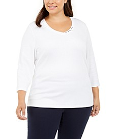 Plus Size Cotton Button-Trim 3/4-Sleeve Top, Created For Macy's