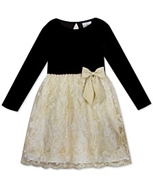 Toddler Girls Velvet & Lace Dress