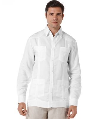 Cubavera Long Sleeve Non Embroidered Guayabera Shirt - Casual ...