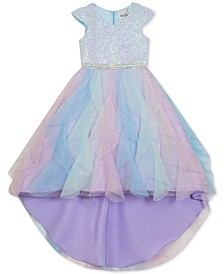 Little Girls Sequined Cascade Unicorn Dress