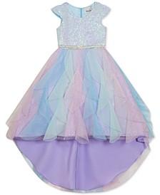 Little Girls Sequined Cascade Unicorn Dress