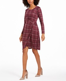 NY Collection Petite Printed Long-Sleeve Faux-Wrap Dress