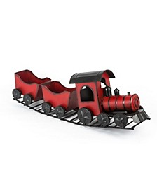 28.5-Inch-Long Metal Holiday Train with Box Cars on Track in Traditional Vintage Colors