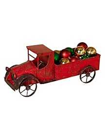 Red Metal Antique Truck with Empty Bed and Accented Wheels