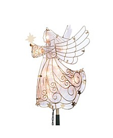 Lighted Angel Tree Topper in Frosty Glass with Gold Outline and Stars