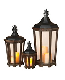 Gerson & Gerson Octagon Wood and Metal Lanterns - Set of 3