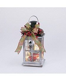 15-Inch High Battery-Operated Wood Lantern with Holiday Scene and Timer Feature