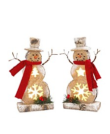 Battery-Operated Lighted Resin Snowman Figuries - Set of 2