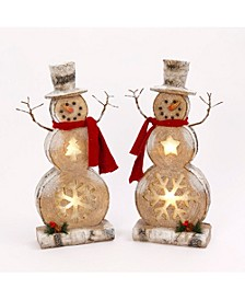 Assorted Set of 2 Poly-Resin Battery-Operated Snowman Table-Top Figurines with Timer Feature