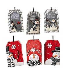 Nametag-Shaped Snowman Ornaments - Set of 6