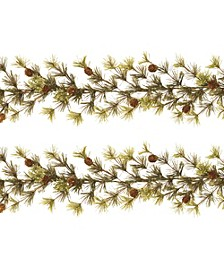 9-Foot Long Wasatch Mountain Cashmere Ming Pine Garlands - Set of 2
