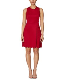 Betsey Johnson Petite Scalloped A-Line Dress