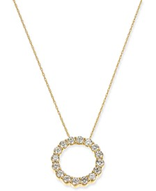 "Diamond Circle 18"" Pendant Necklace (1-1/3 ct. t.w.) in 14k Gold"