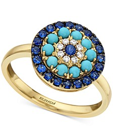 EFFY® Sapphire (1/2 ct. t.w.), Manufactured Turqouise & Diamond (1/20 ct. t.w.) Statement Ring in 14k Gold