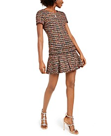 Ruffled Tweed A-Line Dress