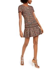 Betsey Johnson Ruffled Tweed A-Line Dress