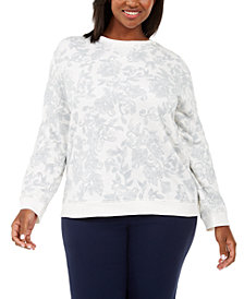 Karen Scott Plus Size Printed Sweatshirt, Created For Macy's