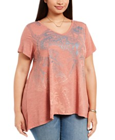 Style & Co Plus Size High-Low Swing T-Shirt, Created For Macy's