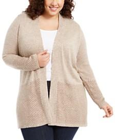 Karen Scott Plus Size Patterned-Border Cardigan Sweater, Created For Macy's