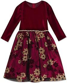 Big Girls Velvet & Glitter Mesh Dress