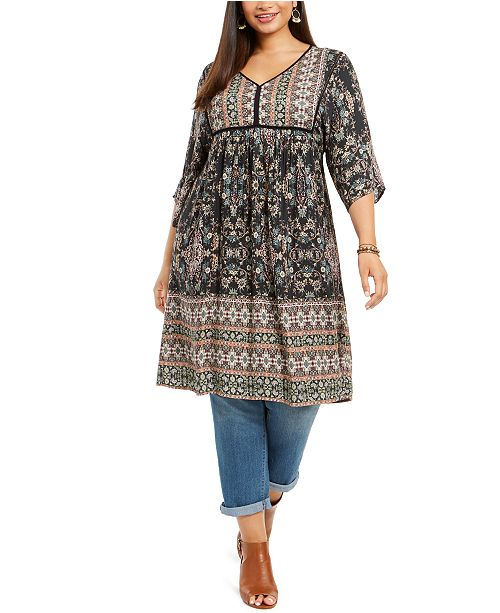 Style & Co Plus Size Printed Kimono Dress, Created For Macy's