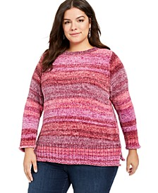 Plus Size Striped Chenille Sweater, Created For Macy's