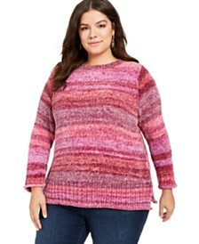Style & Co Plus Size Striped Chenille Sweater, Created For Macy's