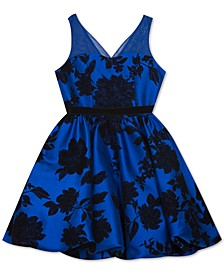 Big Girls Flocked Illusion-Strap Dress