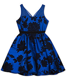 Rare Editions Big Girls Flocked Illusion-Strap Dress