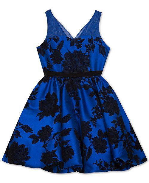 Rare Editions Big Girls Flocked Illusion-Strap Dress