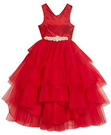 Little Girls Tulle Ruffle Satin Ball Gown