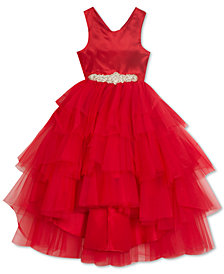 Rare Editions Little Girls Tulle Ruffle Satin Ball Gown