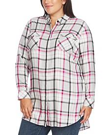 Plus Size Highlighter Plaid 2-Pocket Tunic