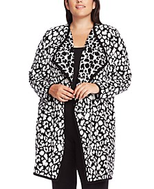 Plus Size Cheetah-Print Cardigan