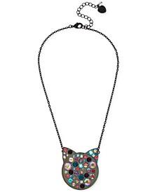 "Hematite-Tone Multi-Crystal Cat Face Pendant Necklace, 16"" + 3"" extender"