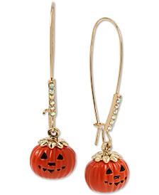 Betsey Johnson Gold-Tone Pavé Jack-O-Lantern Linear Drop Earrings