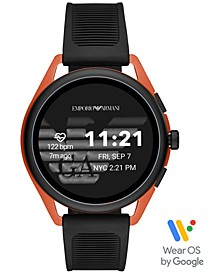Men's Black Silicone Strap Touchscreen Smart Watch 45mm