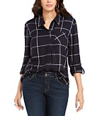 Style & Co Plaid One-Pocket Shirt Created for Macys