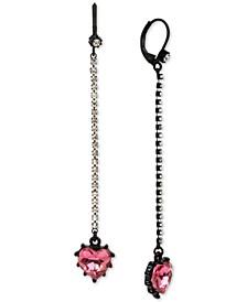 Black-Tone Crystal & Heart Stone Linear Drop Earrings